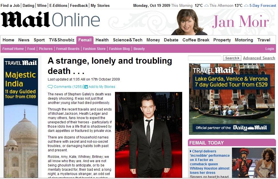 Jan Moir's article on Stephen Gately's death in 2009 was - if not deliberately, then recklessly - offensive.